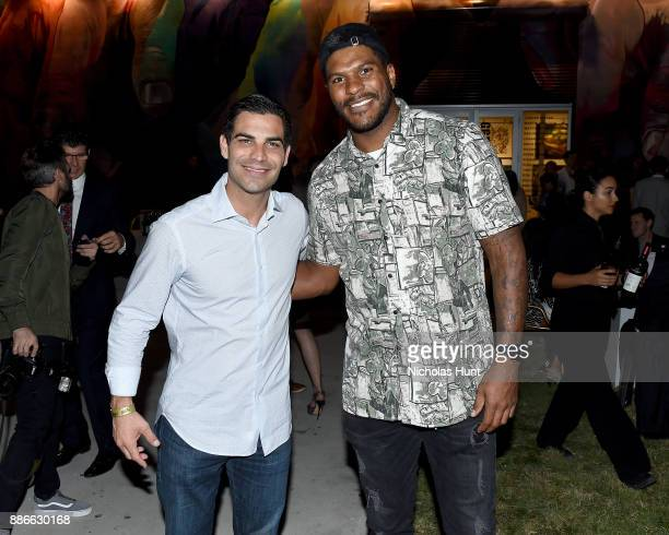Miami Mayor Francis Suarez and NFL player Julius Thomas of the Miami Dolphins attend Wynwood Walls Presents humanKIND 2017 at Wynwood Walls on...