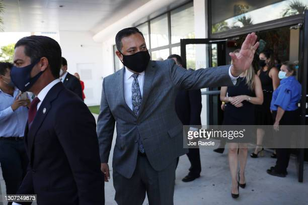 Miami Mayor Francis Suarez arrives with new Police Chief Art Acevedo for his introduction at City Hall on March 15, 2021 in Miami, Florida. Acevedo...