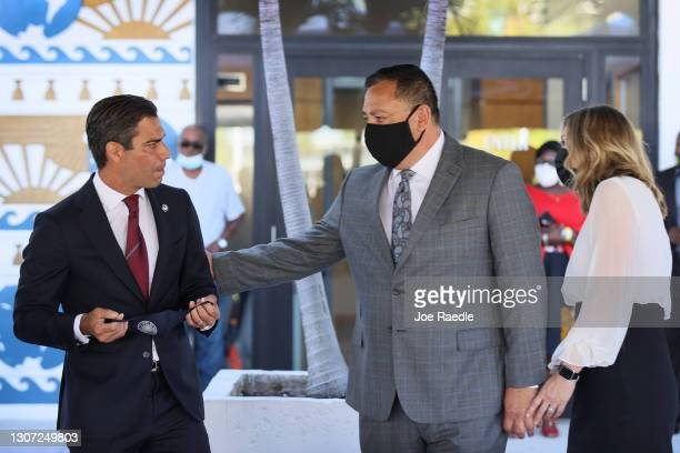 Miami Mayor Francis Suarez introduces new Police Chief Art Acevedo at City Hall on March 15, 2021 in Miami, Florida. Acevedo is leaving his job as...