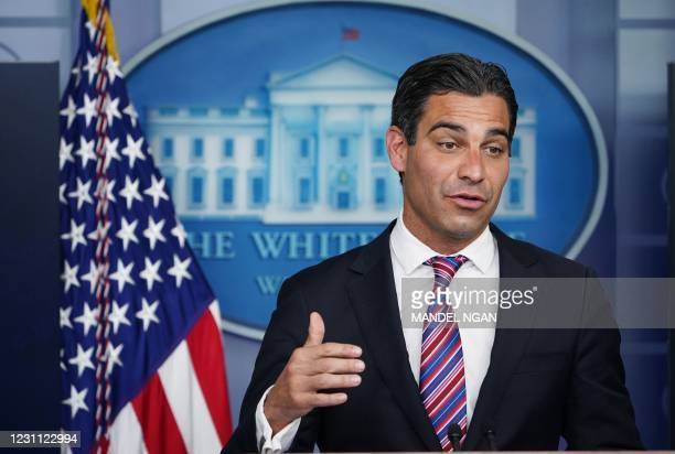 Miami Mayor Francis Suarez speaks during the daily briefing in the Brady Briefing Room of the White House in Washington, DC on February 12, 2021. -...