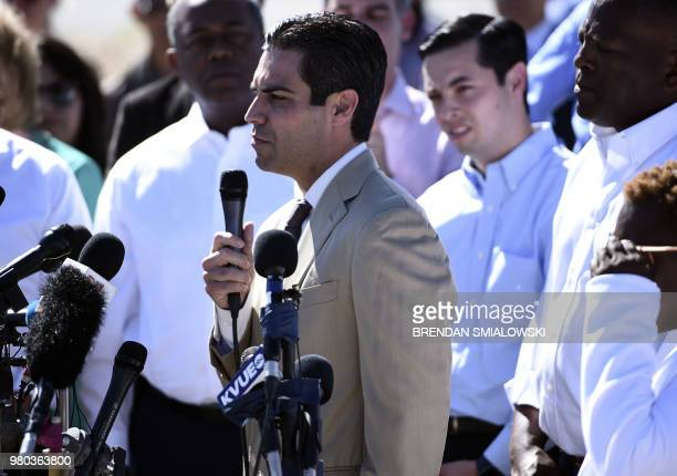 Miami mayor Francis Suarez speaks to a crowd of people at the Tornillo Port of Entry near El Paso Texas June 21 2018 during a protest rally by...