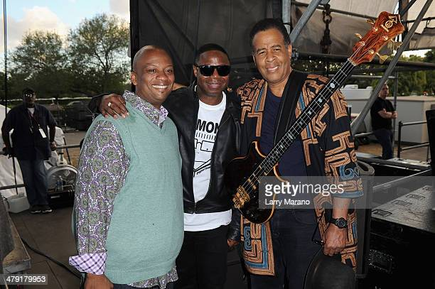 Miami Mayor Oliver G Gilbert III Rapper Doug E Fresh and Musician Stanley Clarke attend Day 2 of Jazz In The Gardens at Sun Life Stadium on March 16...