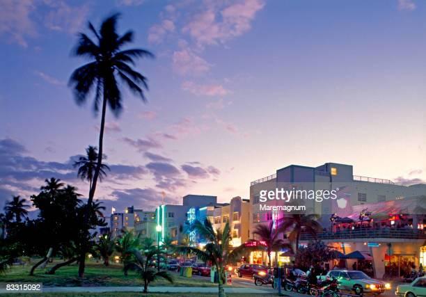 Miami, Miami Beach, Ocean Drive at twilight