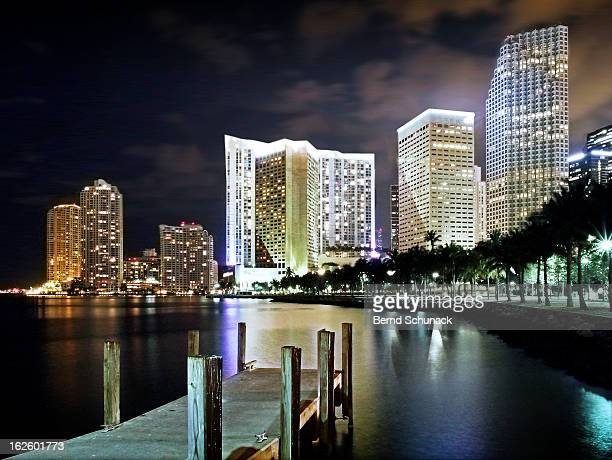 miami night lights - bernd schunack stock pictures, royalty-free photos & images