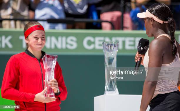Miami Open Champion Sloan Stephens from the USA congratulates runner up Jelena Ostapenko from Latvia during the trophy ceremony at the Miami Open in...