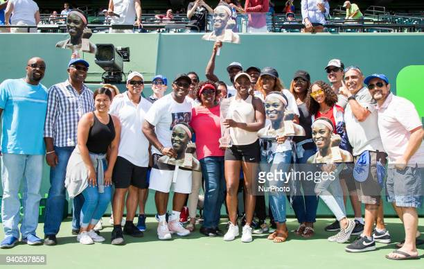 Miami Open Champion Sloane Stephens poses with friends and family after the final match againts Jelena Ostapenko in Key Biscayne on March 31 2018