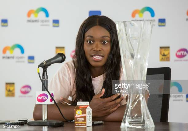 Miami Open Champion Sloane Stephens talking to the media during her press conference after defeating Jelena Ostapenko in Key Biscayne on March 31 2018