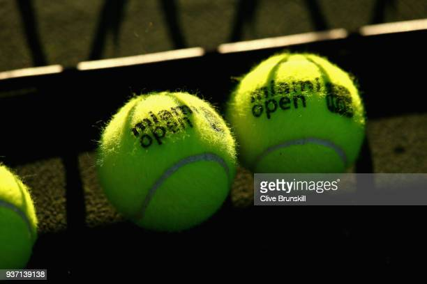 Miami Open logo used tennis balls at the side of the court during the Miami Open Presented by Itau at Crandon Park Tennis Center on March 23 2018 in...
