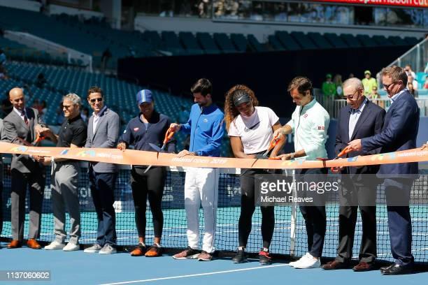 Miami Open Tournament Director James Blake Endeavor CEO Ari Emanuel Endeavor president Mark Shapiro Naomi Osaka of Japan Novak Djokovic of Serbia...