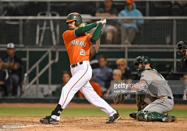 Miami outfielder Hunter Tackett at bat during a college baseball game between the Dartmouth College Big Green and the University of Miami Hurricanes...