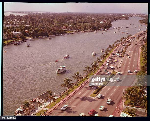 Photo made from the roof of the Fountainbleau Hotel looking north on Indian river The road is Miami Beach's famous Collins Avenue where spectators...