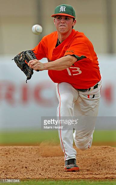Miami pitcher Sam Robinson works against Texas AM at Alex Rodriguez Park at Mark Light Field in the NCAA Coral Gables Regional in Coral Gables...