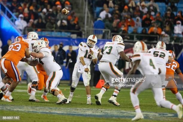 Miami quarter back Malik Rosier misses a pass to wide receiver Jeff Thomas during the game between the Clemson Tigers and the Miami Hurricanes on...