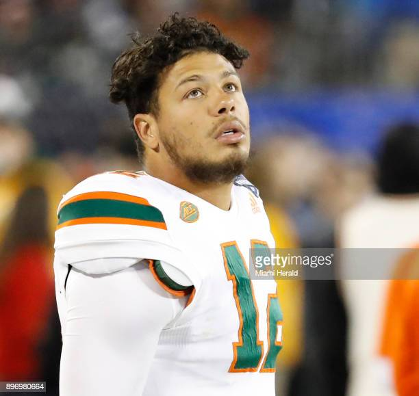 Miami quarterback Malik Rosier on the sidelines during action against Clemson in the ACC Championship Game at Bank of America Stadium in Charlotte NC...