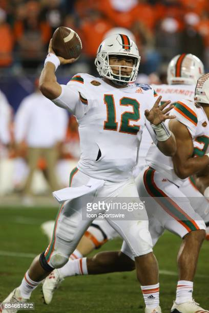Miami quarterback Malik Rosier pass the ball during the game between the Clemson Tigers and the Miami Hurricanes on December 2 2017 at Bank of...