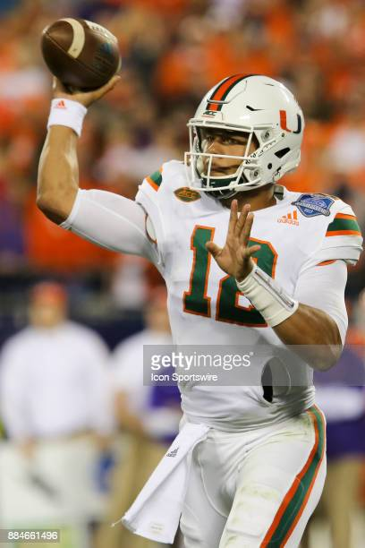 Miami quarterback Malik Rosier throws a pass during the first half of the game between the Clemson Tigers and the Miami Hurricanes on December 2 2017...
