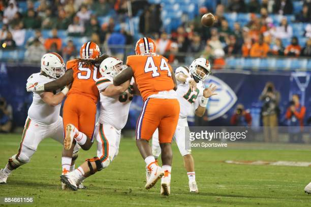Miami quarterback Malik Rosier throws a pass during the game between the Clemson Tigers and the Miami Hurricanes on December 2 2017 at Bank of...