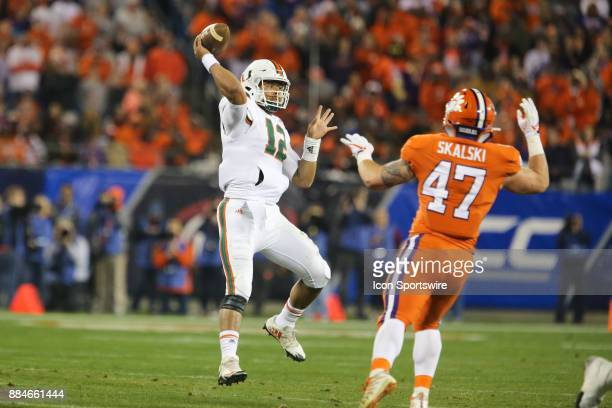 Miami quarterback Malik Rosier throws the ball during the first half of the game between the Clemson Tigers and the Miami Hurricanes on December 2...