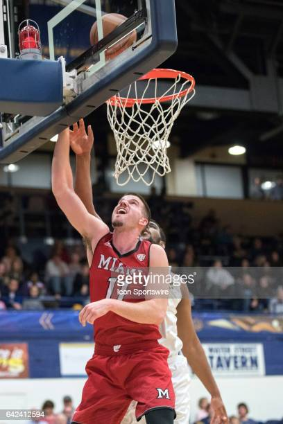 Miami RedHawks F Logan McLane scores with a layup during the first half of the men's college basketball game between the Miami RedHawks and Kent...