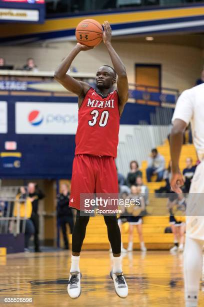 Miami RedHawks G Abdoulaye Harouna shoots during the first half of the men's college basketball game between the Miami RedHawks and Kent State Golden...
