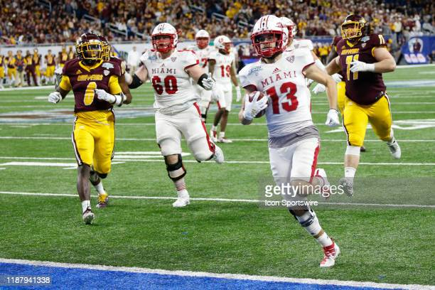 Miami RedHawks wide receiver Jack Sorenson runs with the ball after catching a pass into the end zone for a touchdown during the MidAmerican...