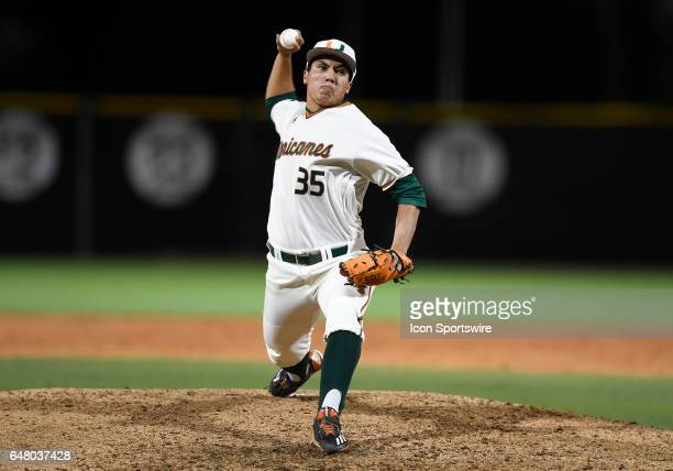 Miami right handed pitcher Andrew Cabezas pitches during a college baseball game between the Dartmouth College Big Green and the University of Miami...