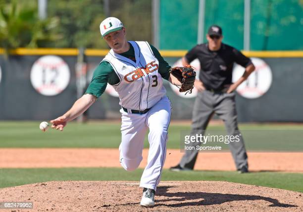 Miami right handed pitcher Cooper Hammond pitches during a college baseball game between the BethuneCookman University Wildcats and the University of...