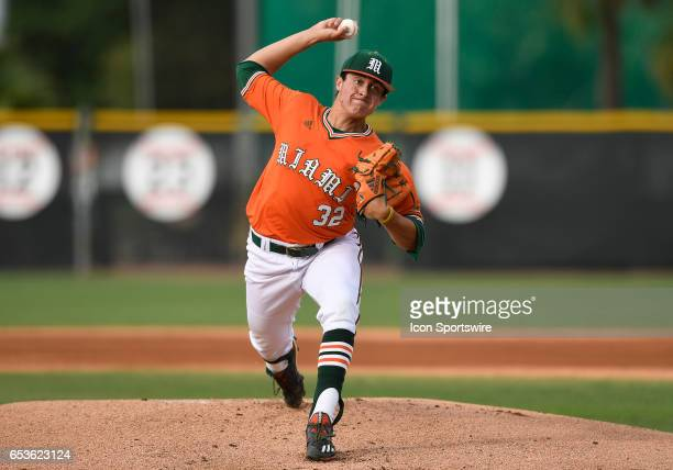 Miami right handed pitcher Evan McKendry pitches during a college baseball game between the University of Maine Black Bears and the University of...