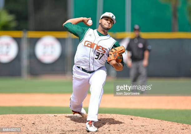 Miami right handed pitcher Keven Pimentel pitches during a college baseball game between the Dartmouth College Big Green and the University of Miami...