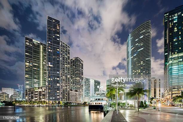 Miami River cityscape at dusk