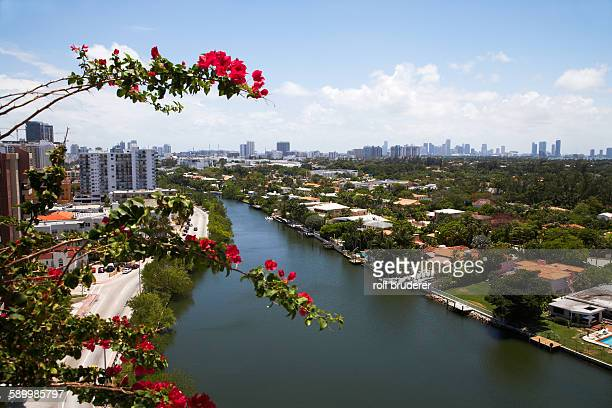 Miami River Running Through Miami Residential Neighborhood