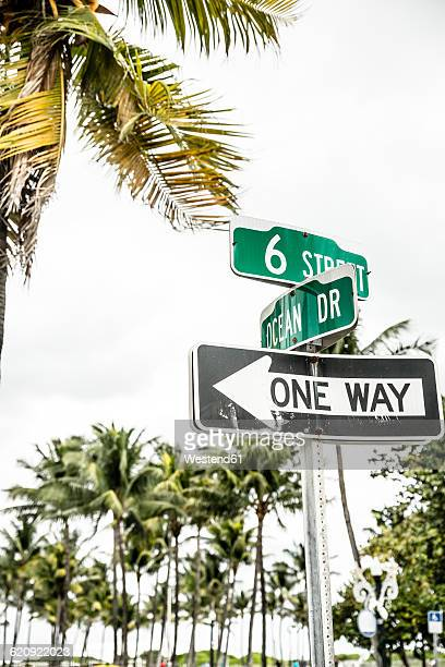 USA, Miami, road sign of Ocean Drive