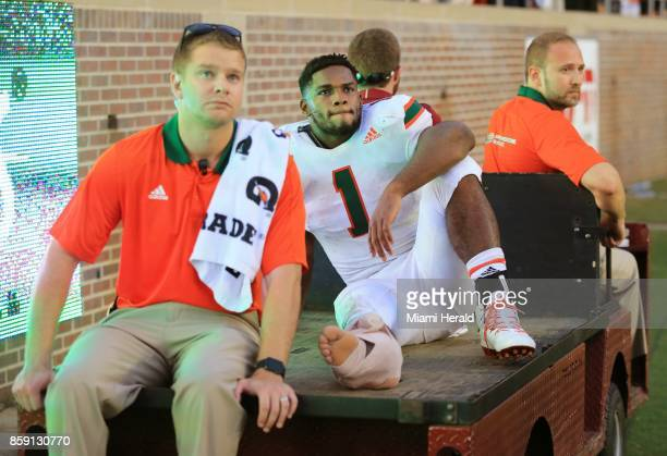 Miami running back Mark Walton is carted off in the fourth quarter with an injury against Florida State at Doak Campbell Stadium in Tallahassee Fla...