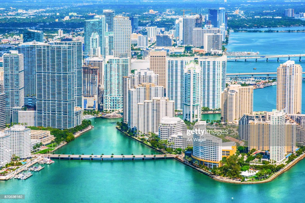 Miami Skyline From Over Biscayne Bay : Stock Photo