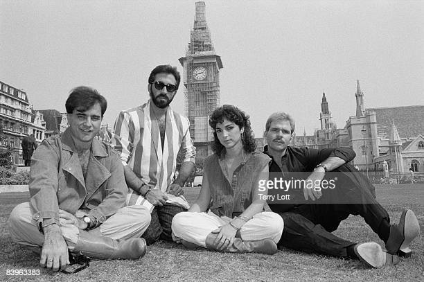 Miami Sound Machine whilst on a photo session in front of Big Ben London September 1984