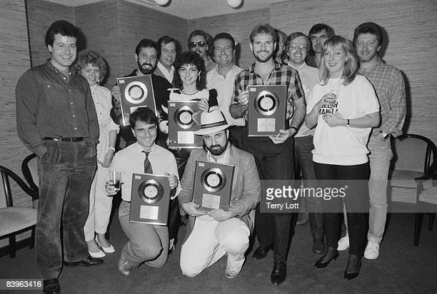 Miami Sound Machine with CBS/Sony executives during a disc presentation at the offices of CBS/Sony Records September 1984