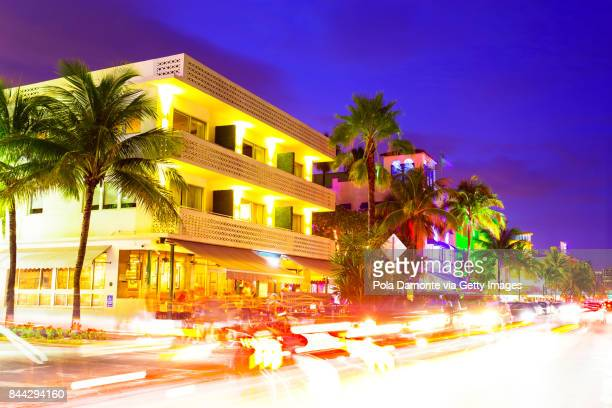 Miami South Beach at dusk Ocean Drive, Florida, USA