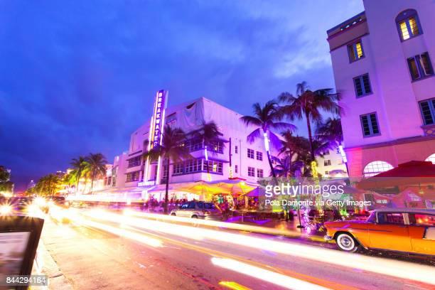 Miami South Beach at dusk Ocean Drive, Florida, USA