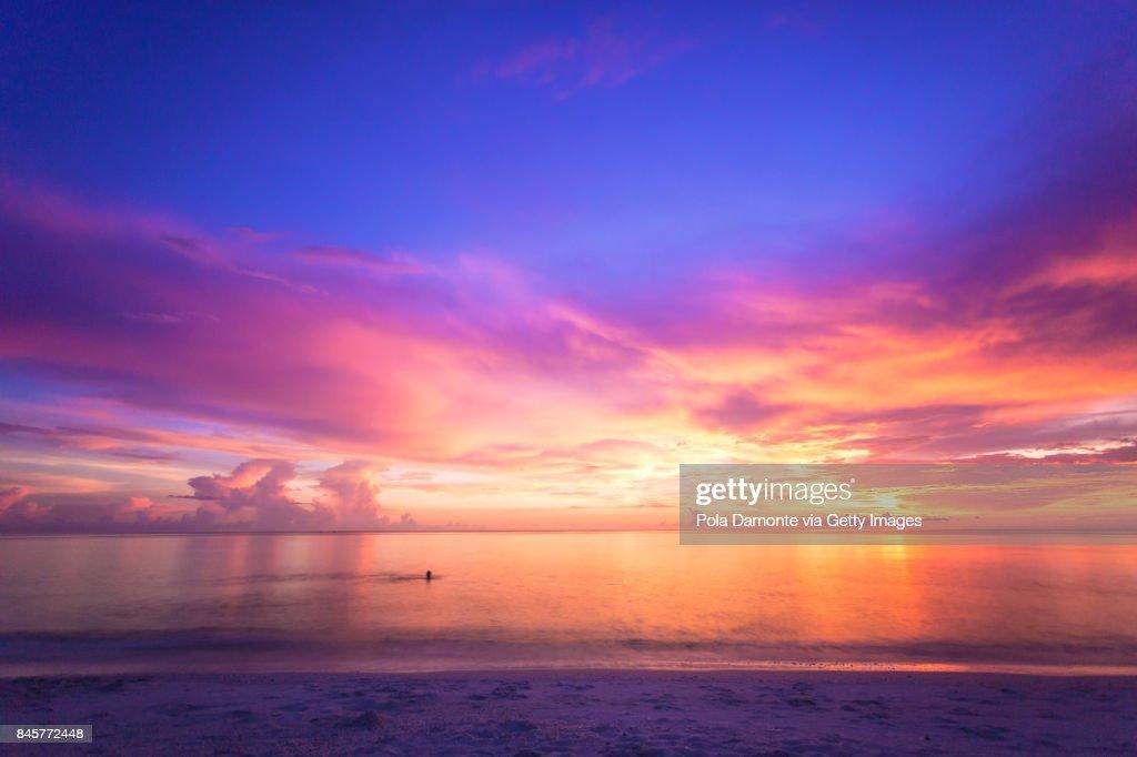Miami South Beach at dusk Ocean Drive, Florida, USA : Stock Photo