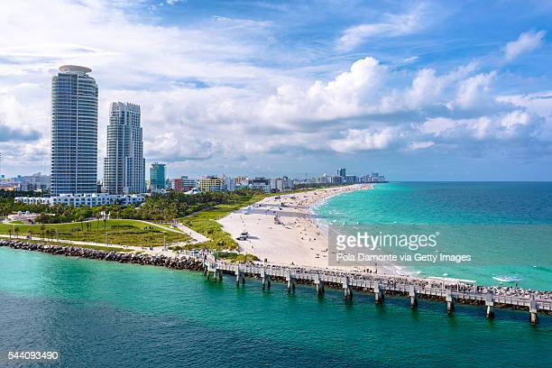 Miami South Beach from a high point of view. South Pointe Park, Florida, USA