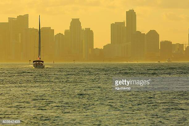 Miami South Beach skyline panorama gold sunset, yacht, Florida, USA