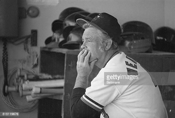 Miami: The manager of the Baltimore Oriole's, Earl Weaver, watches from the dugout as his team loses to the Pittsburgh Pirates 7-4, Weaver thinks of...