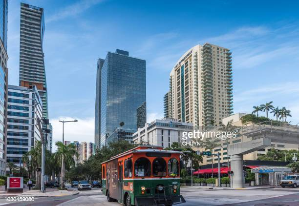 miami trolley - miami dade county stock photos and pictures