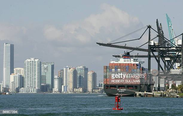 A cargo ship sits at the dock at the Port of Miami 22 February 2006 in Miami Florida Miami's mayor Carlos Alvarez demanded an investigation and a...