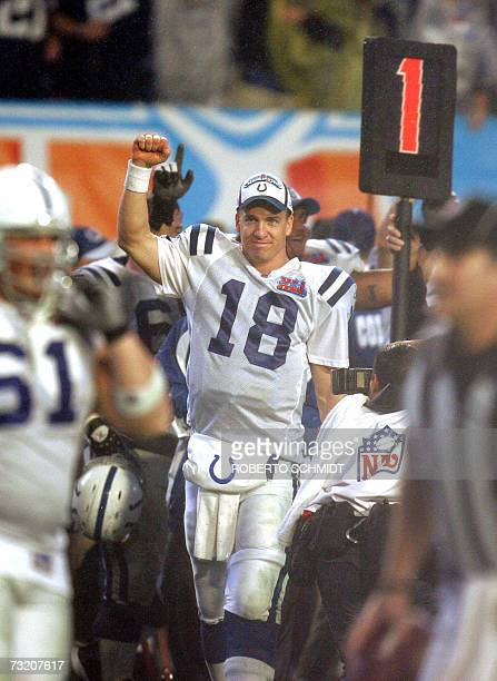Quarterback Peyton Manning of the Indianapolis Colts celebrates his team winning Super Bowl XLI against the Chicago Bears 04 February 2007 at Dolphin...