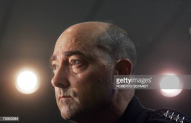 United States Navy Admiral James Stavridis Commander of the US Southern Command speaks 12 February 2007 in Miami Florida during a press conference...