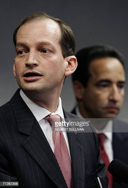 US Attorney Alexander Acosta addresses a press conference with FBI special agent Jonathan Solomon 23 June 2006 in Miami outlining charges against...