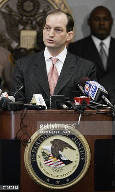 US Attorney Alexander Acosta speaks at a press conference at his office in Miami 23 June to briefing the media on charges against seven individuals...