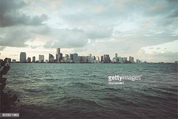 USA, Miami, view from Key Biscayne to the skyline of Miami