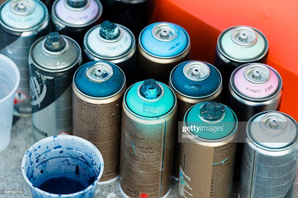 Miami Wynwood Graffiti Art Spray Paint Cans On Urban Sidewalk Stock